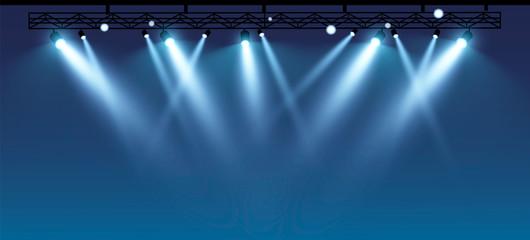 Fototapeta Vector stage with set of blue spotlights. Blue stage lights.