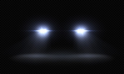 Realistic car headlights. Train front light beams, transparent bright glowing light rays, night road light effects. Vector 3d led lights Wall mural