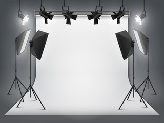 Photography studio. Photo backdrop and spotlight, realistic floodlight with tripod and studio equipment. Vector professionals studio background