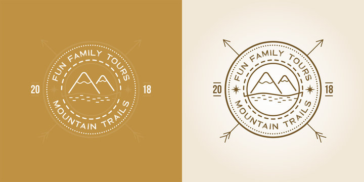 Set of Outdoor logo design template with Mountains with Snow Peaks. Vector.