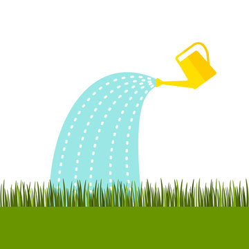 A yellow watering can water the lawn from the green grass. flat vector illustration isolated
