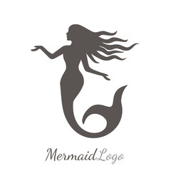Silhouette of a beautiful mermaid with long hair under the water. flat vector illustration isolated