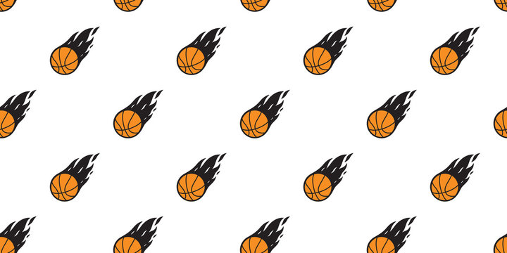 basketball Seamless pattern vector fire sport tile background scarf isolated repeat wallpaper