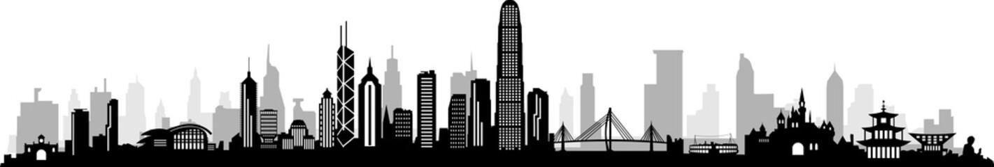 HongKong City Skyline Vector Wall mural