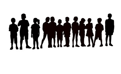 kids together silhouette vector
