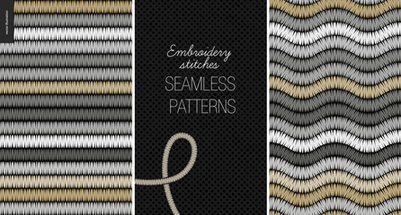 Embroidery satin stitch seamless patterns - two textile patterns of satin stitch