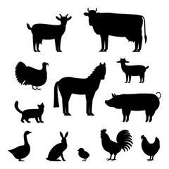A large set of animals and birds with a farm in a cartoon style. Flat vector illustration isolated