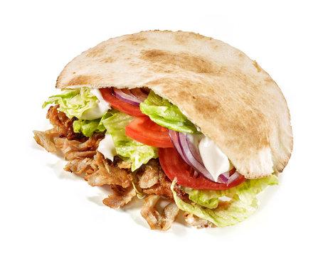 doner kebab on white background