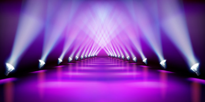 Stage podium during the show. Purple carpet. Fashion runway. Vector illustration.