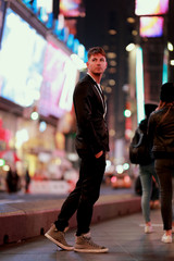 beautiful young man at Times Square, Manhattan, New York, United States of America