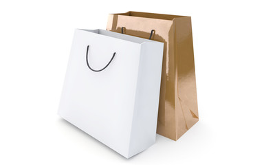 luxury gold and white shopping bags
