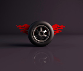 3d render of a wheel or tyre with flames