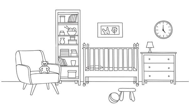 Bedroom interior background. Baby bed-room line art. Kid room fu