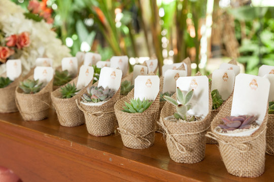 close-up of gifts for party guests