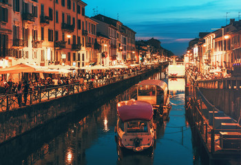 Foto op Plexiglas Milan Naviglio Grande canal at the evening. Milan, Italy.