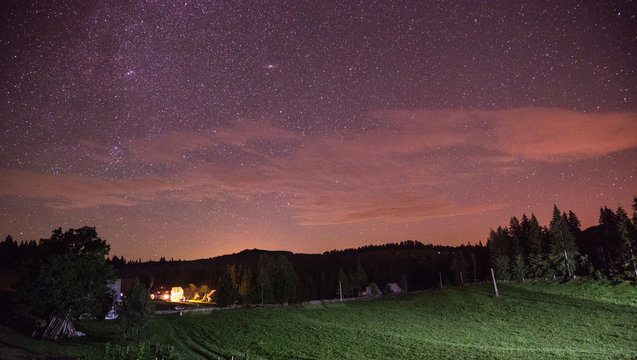 Starry sky over the Carpathian Mountains, Romania