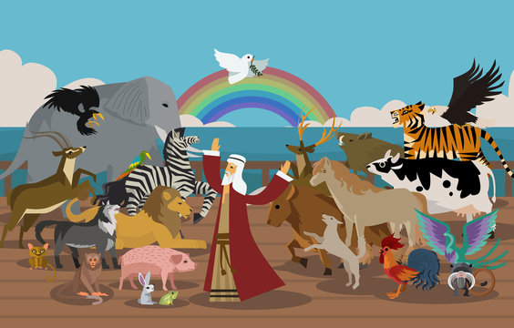Noah's Ark and animals and dove miracle
