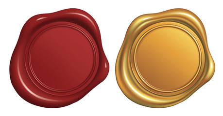 Wax Seal Stamp, Red and Golden_Vector EPS 10