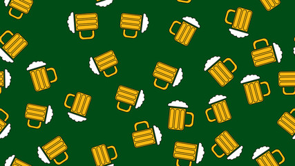 Texture seamless pattern from a set of raivy good tasty refreshing alcoholic drinks of hops light and dark malt foam beer in glasses, mugs on a green background. Vector illustration