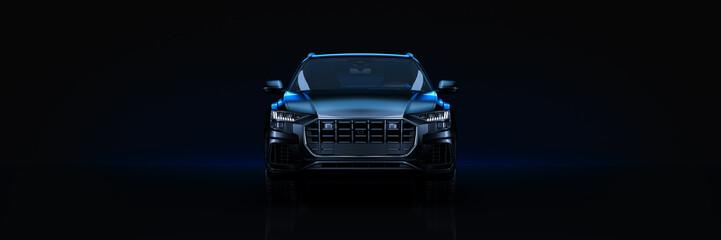 Sports car, studio setup, on a dark background. 3d rendering