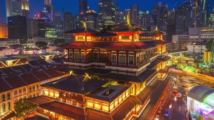 Wall Mural - Buddha Tooth Relic Temple time lapse in Singapore