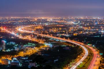 Fototapeta Night aerial view of the Yilan cityscape