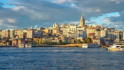 Wall Mural - Istabul city skyline with view of Galata Tower time lapse in Istanbul, Turkey