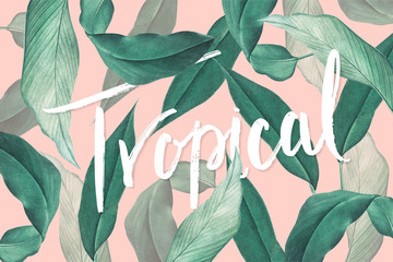 Tropical leaves background Wall mural