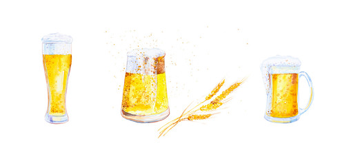 Set of mugs filled with beer with foam and ears of wheat with crumbs. Watercolor illustration isolated on white background