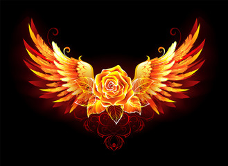 Fire rose with wings Wall mural