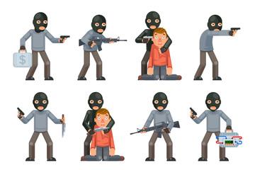 Terror danger risk soldier hostage threat villain terrorist weapon attack criminal character cartoon flat design isolated set vector illustration