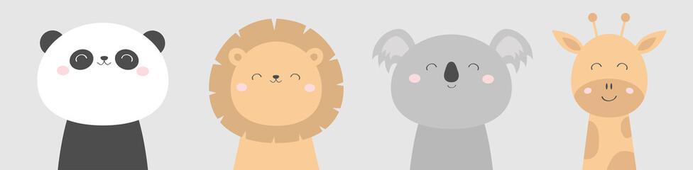 Koala Panda bear Giraffe Lion face head icon set. Kawaii animal. Cute cartoon character. Funny baby kids print. Love Greeting card. Flat design. White background. Isolated.