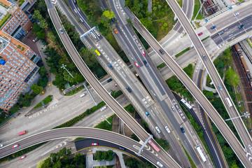 Top view of Hong Kong city traffic