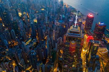 Fotomurales - Aerial view of Hong Kong urban city at night