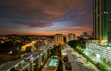 Fotomurales - Kuala Lumpur city skyline at night, Malaysia .