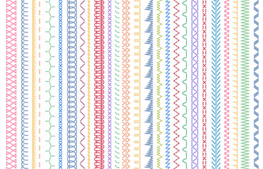 Sewing seams patterns. Embroidery craft sew pattern, fashion seam brush and colorful stitches stitched fabric vector illustration set