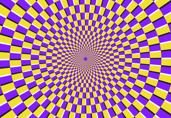 Optical spiral illusion. Magic psychedelic pattern, swirl illusions and hypnotic abstract background vector illustration