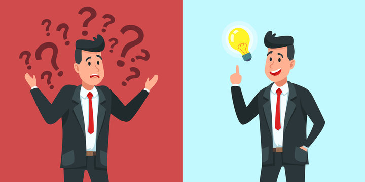 Businessman find idea. Confused business worker wonders and finds solution or solved problem cartoon vector illustration