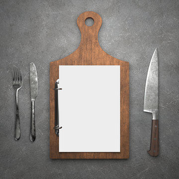 Menu concept , clipboard with blank paper