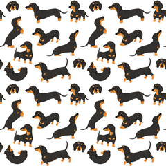 dachshund in action,seamless pattern