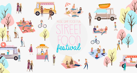 Street food festival poster with people buying and selling goods at street food market. Editable vector illustration