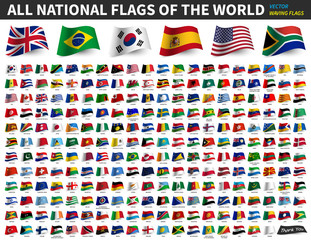 All national flags of the world . Waving flag design . Vector