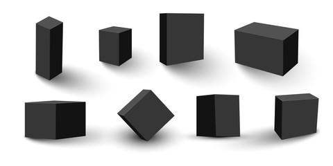 Set of four black blank boxes. Box templates for your design. Vector illustration. Fototapete