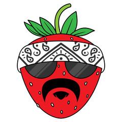 Cartoon Gangster Strawberry Vector Illustration