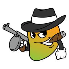 Cartoon Mango Mobster Vector Illustration
