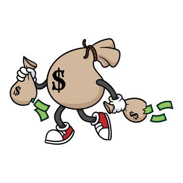 Cartoon Money Bag Running Carrying Smaller Money Bags