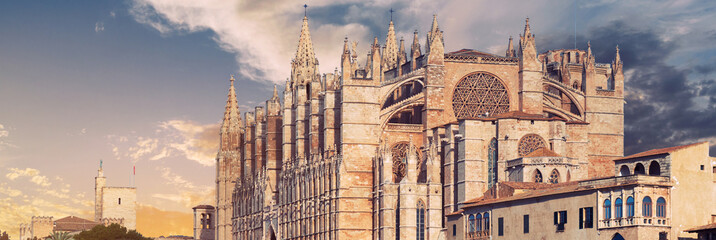 Panoramic view exterior of Cathedral of Palma de Mallorca or La Seu. Spain Wall mural