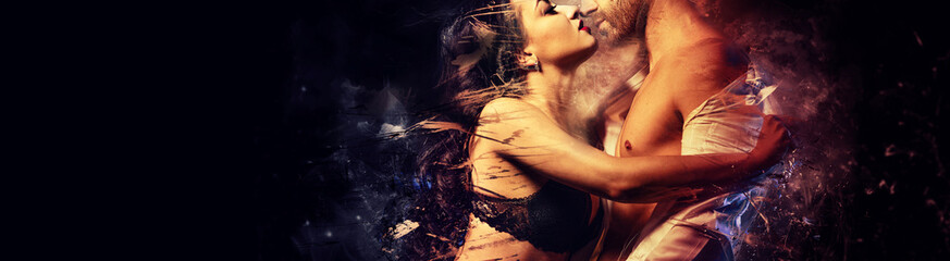 Beautiful passionate couple in love kissing embracing. Sensual brunette in black lingerie and handsome man undress shirt having sex. Digital art generated altered image, romantic relationships concept