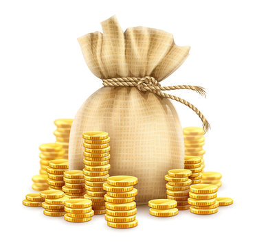 Full sack of cash money corded with rope and heaps of gold coins. Banking concept financial realistic icon of moneybag. Isolated on white transparent background. Gradient mesh used. Illustration.