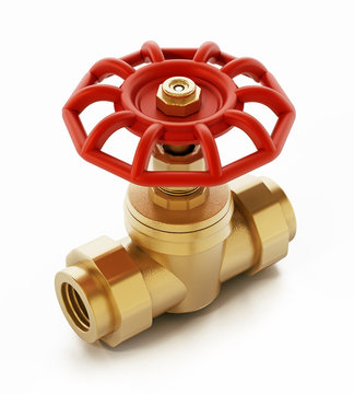Brass water valve isolated on white background. 3D illustration